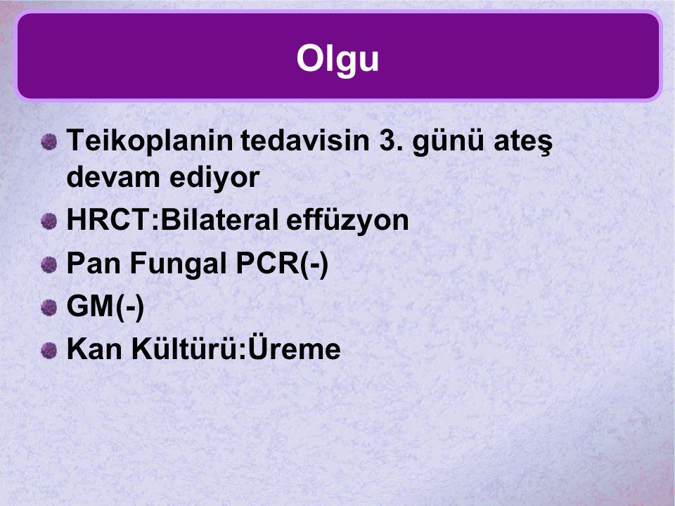 Olgu Teikoplanin tedavisin 3. günü ateş devam ediyor HRCT:Bilateral effüzyon Pan Fungal PCR(-) GM(-) Kan Kültürü:Üreme