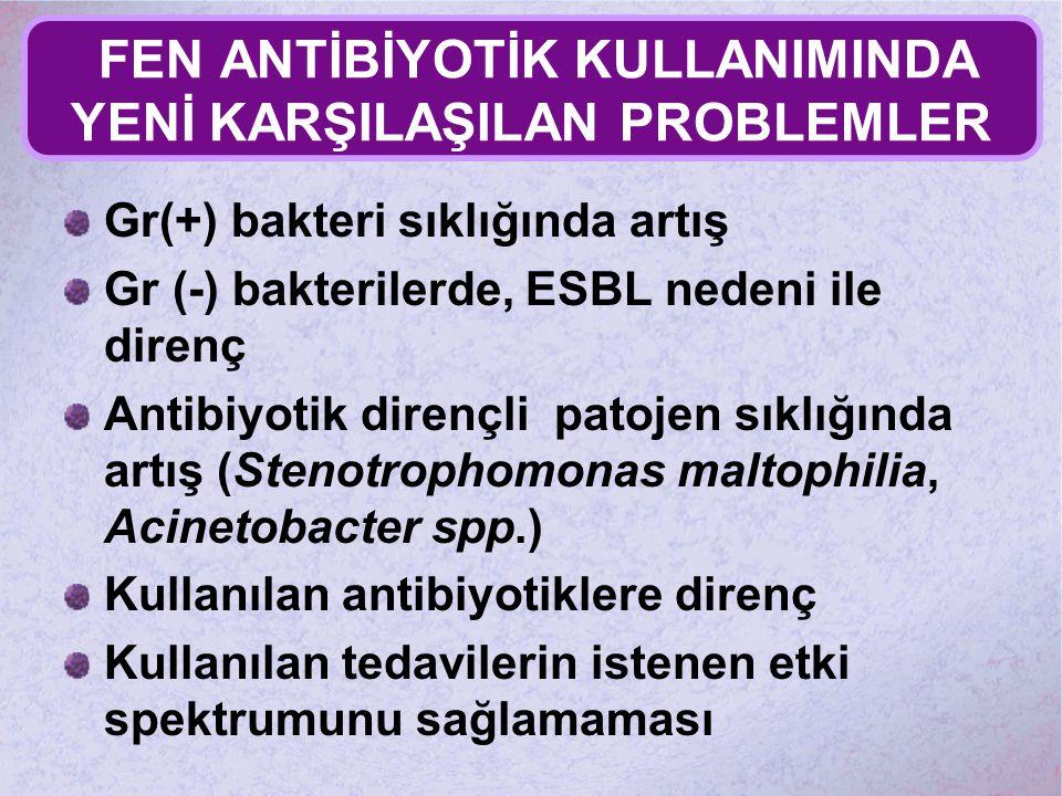 FEN ANTİBİYOTİK KULLANIMINDA YENİ KARŞILAŞILAN PROBLEMLER Gr(+) bakteri sıklığında artış Gr (-) bakterilerde, ESBL nedeni ile direnç Antibiyotik diren