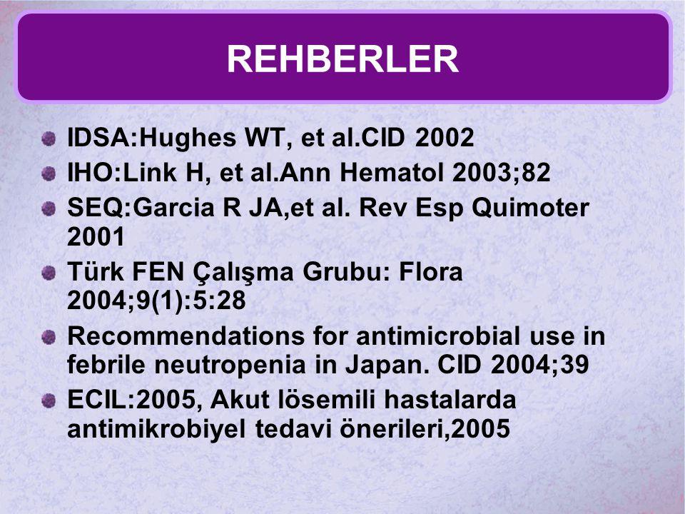 REHBERLER IDSA:Hughes WT, et al.CID 2002 IHO:Link H, et al.Ann Hematol 2003;82 SEQ:Garcia R JA,et al. Rev Esp Quimoter 2001 Türk FEN Çalışma Grubu: Fl