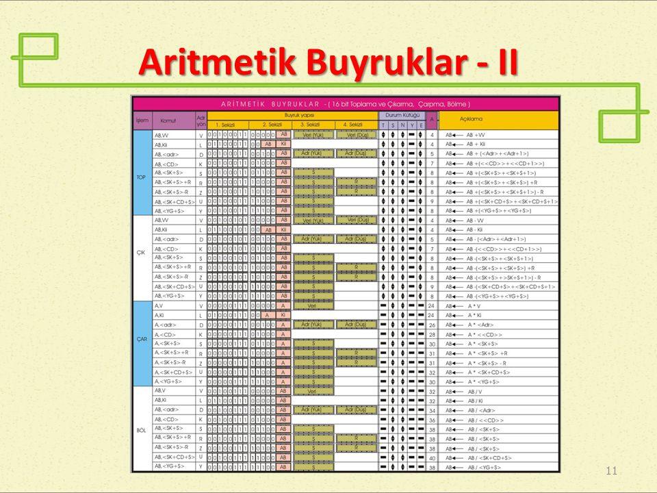Aritmetik Buyruklar - II 11