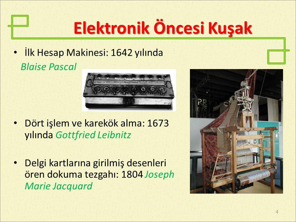 Elektronik Öncesi Kuşak Difference Engine: 1822 Charles Babbage Analitik Motor: 1835 Charles Babbage 5