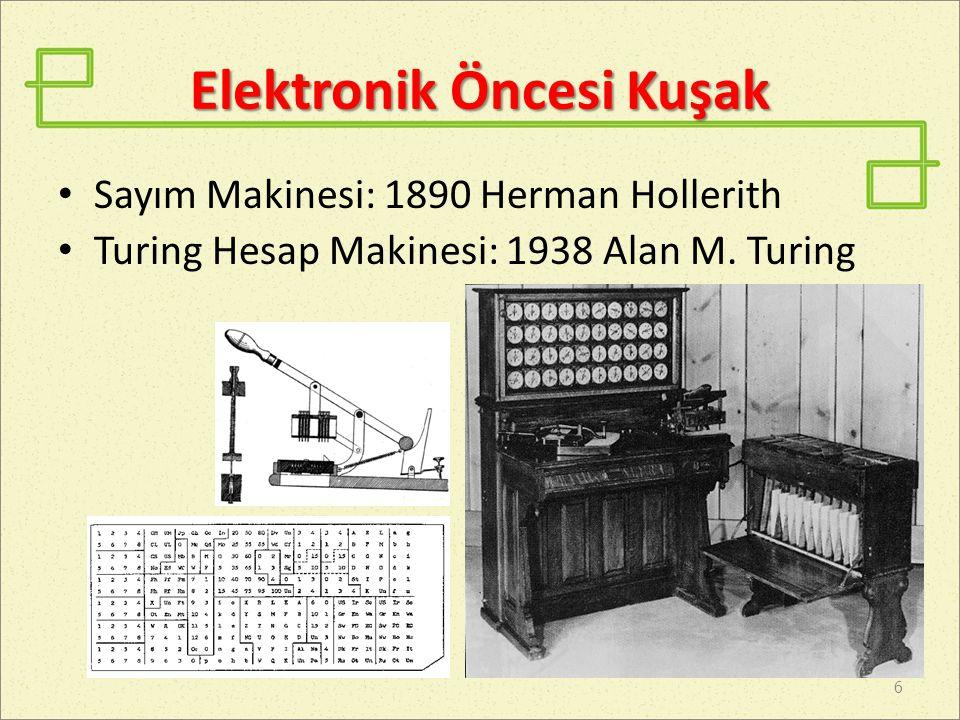 Elektronik Kuşak Genel Amaçlı Kullanılan Elektronik İlk Bilgisayar: 1946 yılında ENIAC 7 University of Pennsylvania 500.000 ABD $ 2010 eşdeğeri 6 M ABD $ 17.468 lamba 1.500 röle 70.000 direnç 10.000 kapasite Sayı düzeni : Onluk Ağırlık : 27 ton Boyut : 2,6 x 0,9 x 26 m Alan : 83 m2 Enerji tüketimi :150 KW Giriş : Delikli kart MTTB : Ortalama her iki günde bir bakım