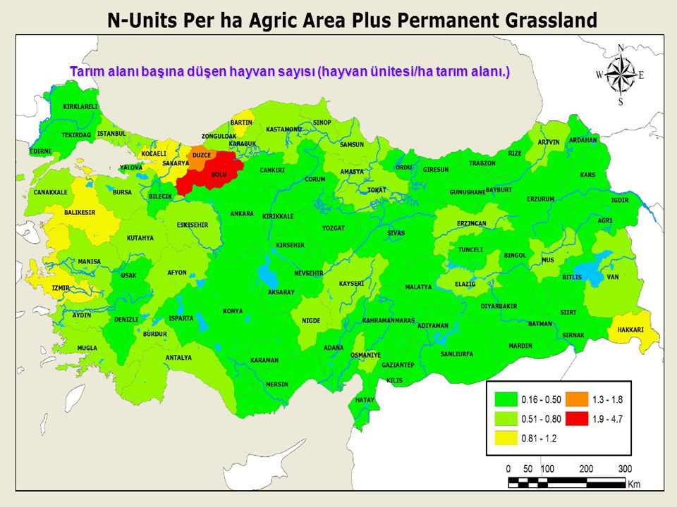 Tarım alanı başına düşen hayvan sayısı (hayvan ünitesi/ha tarım alanı.)