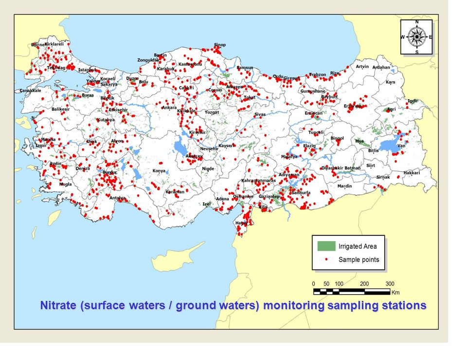 Nitrate (surface waters / ground waters) monitoring sampling stations