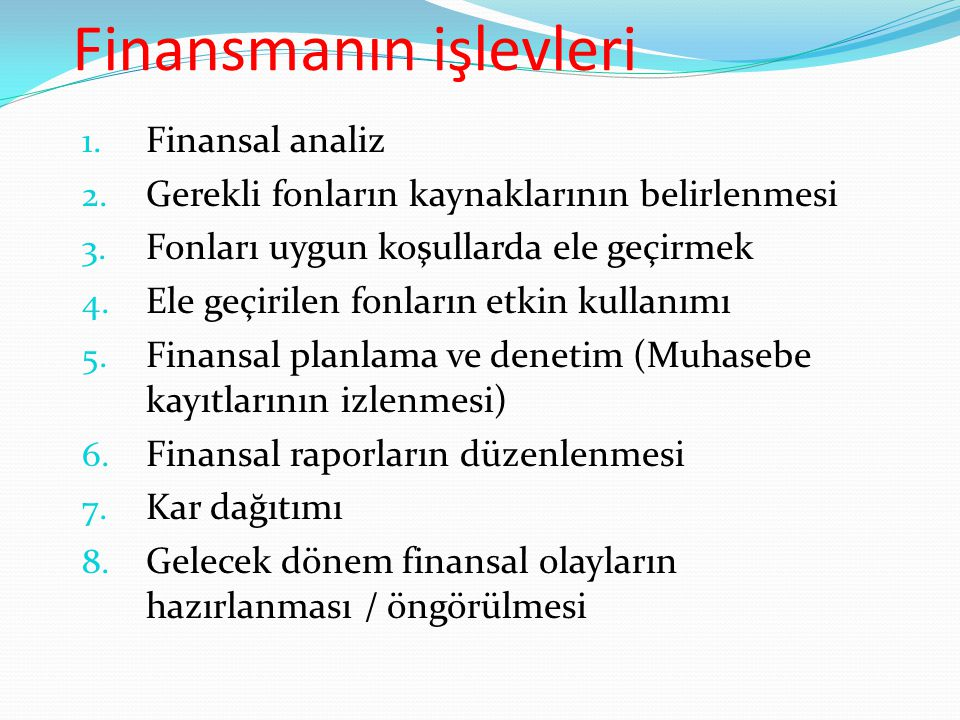 FİNANSAL TABLOLAR 1.