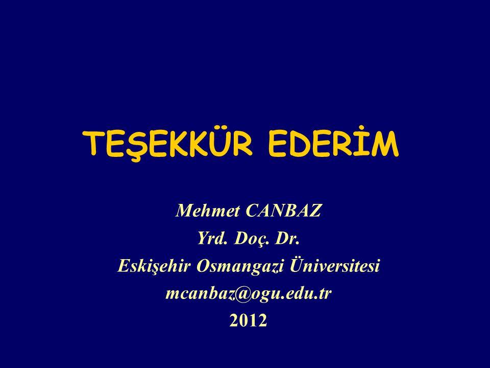 TEŞEKKÜR EDERİM Mehmet CANBAZ Yrd. Doç. Dr. Eskişehir Osmangazi Üniversitesi mcanbaz@ogu.edu.tr 2012