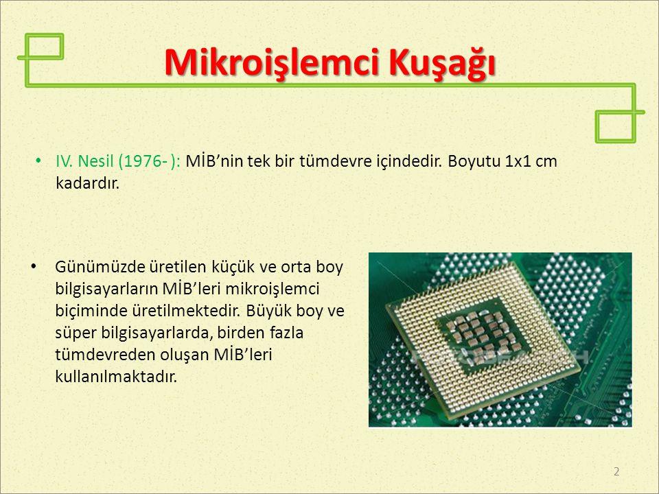 Mikroişlemci Kuşağı Günümüzde üretilen küçük ve orta boy bilgisayarların MİB'leri mikroişlemci biçiminde üretilmektedir.