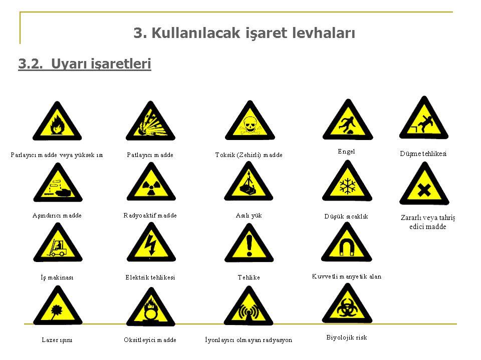 3.2. Uyarı işaretleri 3. Kullanılacak işaret levhaları Zararlı veya tahriş edici madde