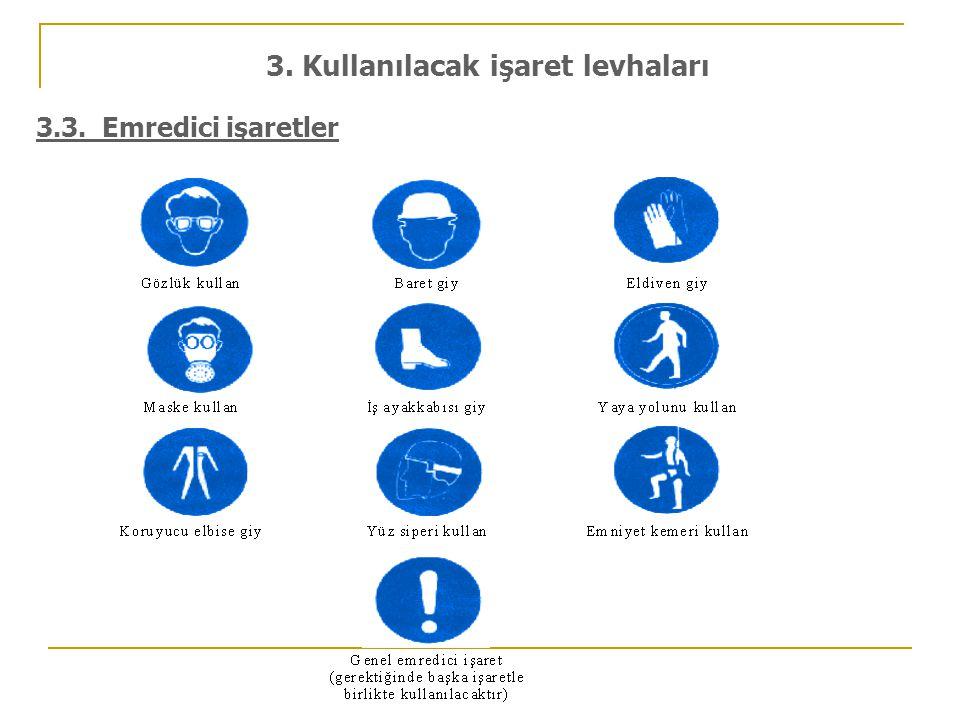 3.3. Emredici işaretler 3. Kullanılacak işaret levhaları