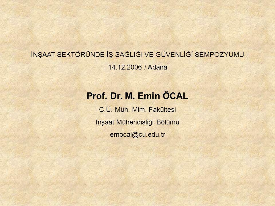 İNŞAAT SEKTÖRÜNDE İŞ SAĞLIĞI VE GÜVENLİĞİ SEMPOZYUMU 14.12.2006 / Adana Prof.