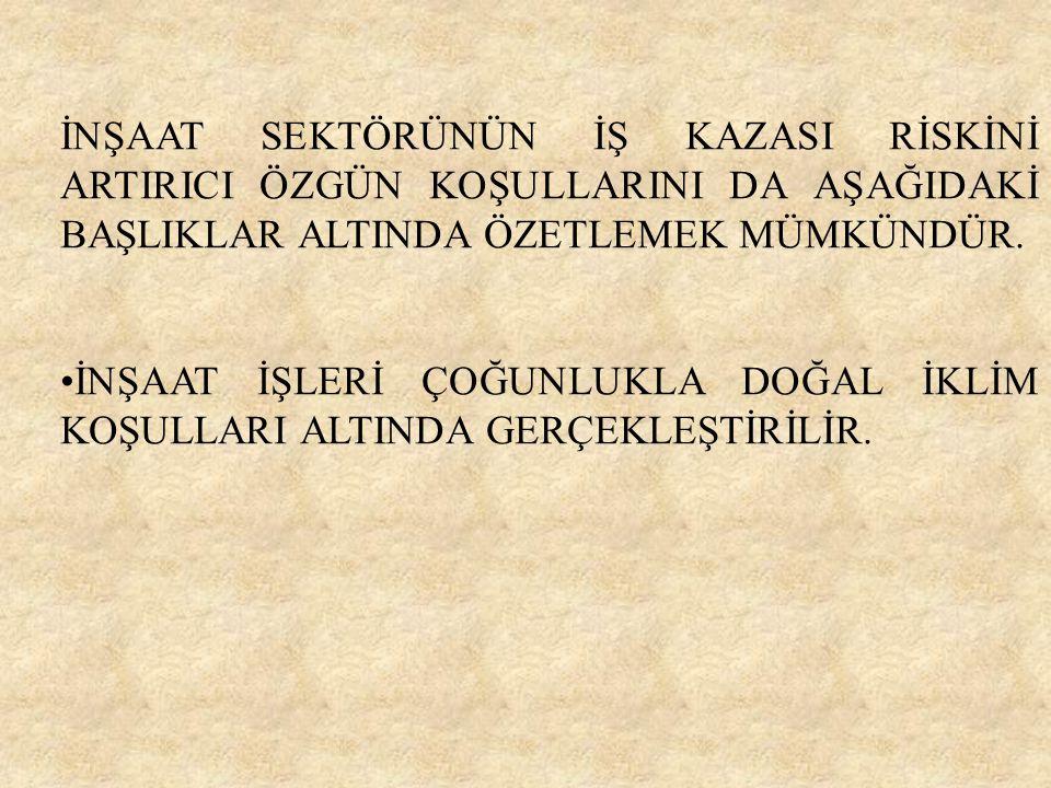 İNŞAAT SEKTÖRÜNÜN İŞ KAZASI RİSKİNİ ARTIRICI ÖZGÜN KOŞULLARINI DA AŞAĞIDAKİ BAŞLIKLAR ALTINDA ÖZETLEMEK MÜMKÜNDÜR.