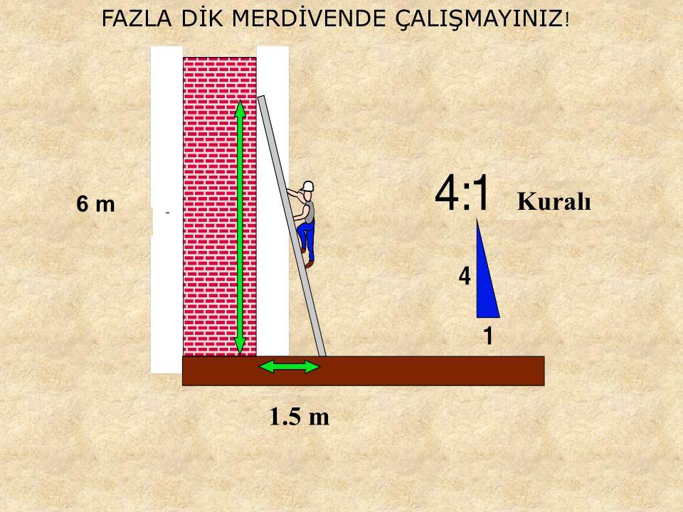 FAZLA DİK MERDİVENDE ÇALIŞMAYINIZ ! 6 m 1.5 m Kuralı