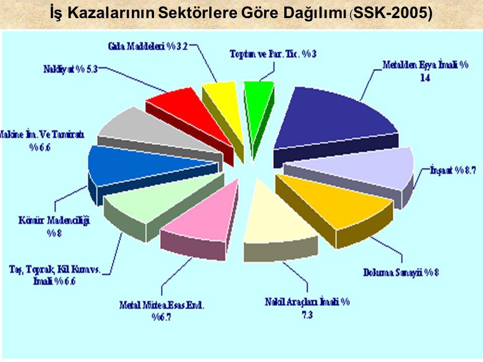İş Kazalarının Sektörlere Göre Dağılımı ( SSK-2005)