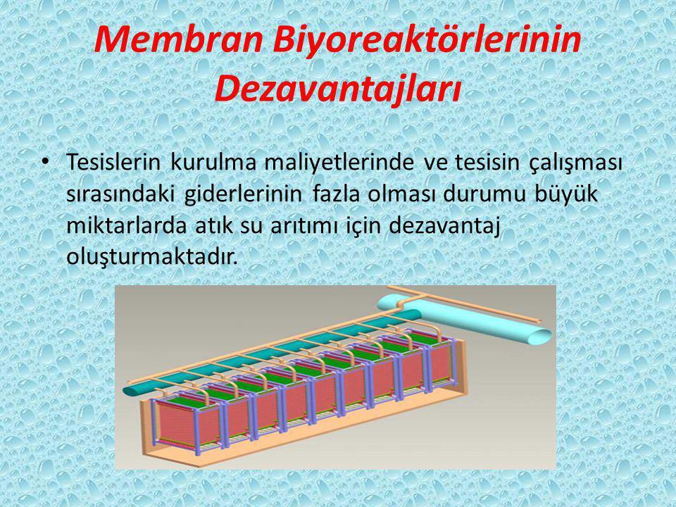 Membran Biyoreaktörlerinin Dezavantajları Tesislerin kurulma maliyetlerinde ve tesisin çalışması sırasındaki giderlerinin fazla olması durumu büyük miktarlarda atık su arıtımı için dezavantaj oluşturmaktadır.