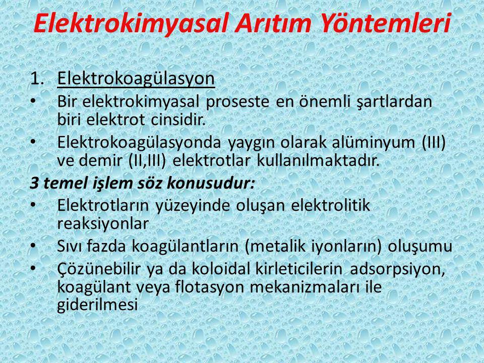 Elektrokimyasal Arıtım Yöntemleri 1.Elektrokoagülasyon Bir elektrokimyasal proseste en önemli şartlardan biri elektrot cinsidir. Elektrokoagülasyonda