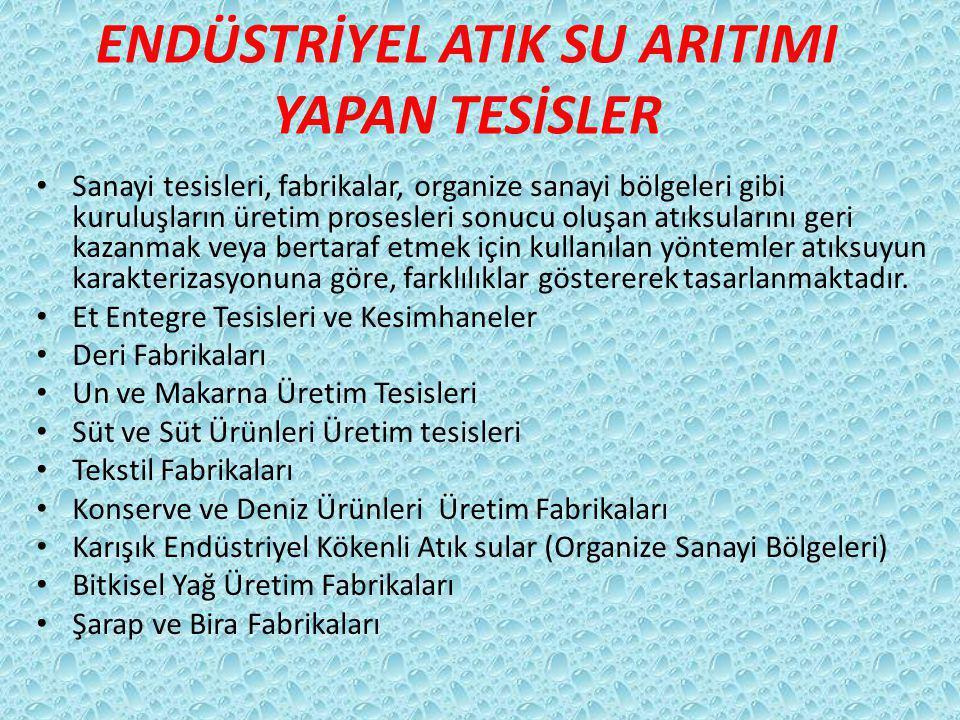 ENDÜSTRİYEL ATIK SU ARITIMI YAPAN TESİSLER Sanayi tesisleri, fabrikalar, organize sanayi bölgeleri gibi kuruluşların üretim prosesleri sonucu oluşan a
