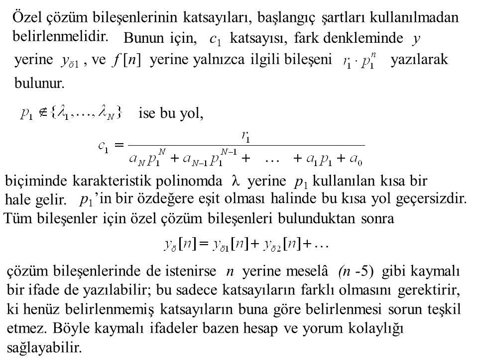 Özel çözüm bileşenlerinin katsayıları, başlangıç şartları kullanılmadan belirlenmelidir. yerine y ö1, ve f [n] yerine yalnızca ilgili bileşeni Bunun i
