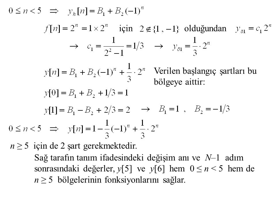 içinolduğundan Verilen başlangıç şartları bu bölgeye aittir: n ≥ 5 için de 2 şart gerekmektedir. Sağ tarafın tanım ifadesindeki değişim anı ve N–1 adı