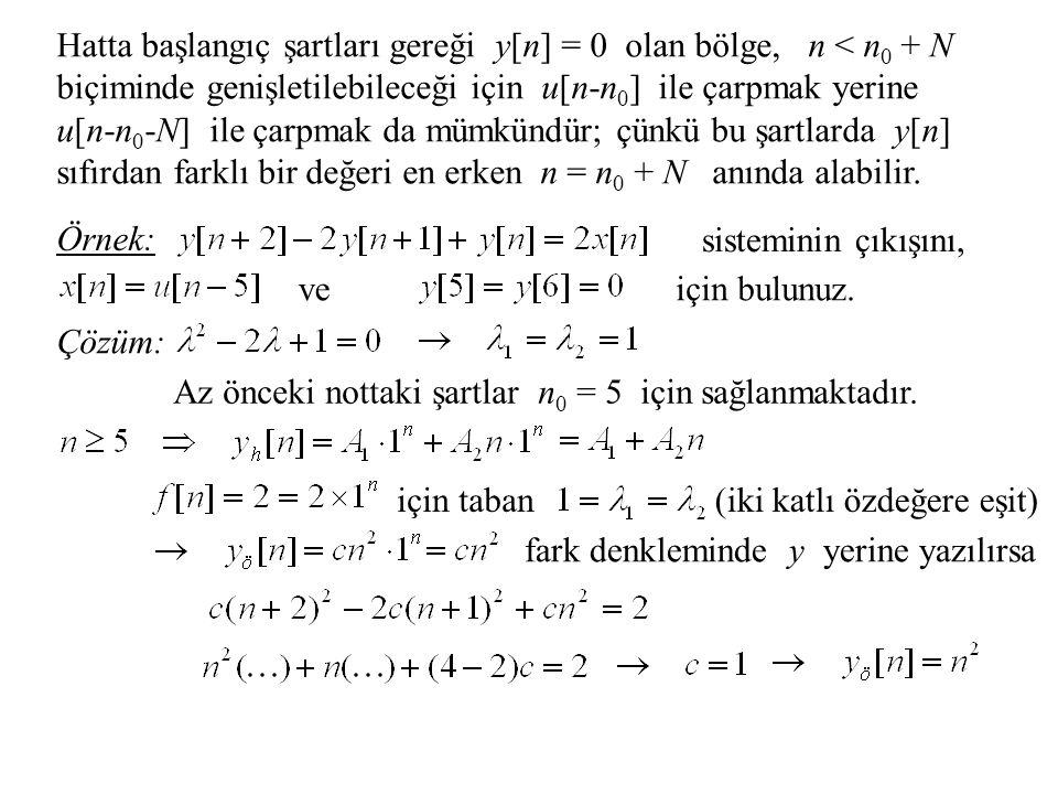 Hatta başlangıç şartları gereği y[n] = 0 olan bölge, n < n 0 + N biçiminde genişletilebileceği için u[n-n 0 ] ile çarpmak yerine u[n-n 0 -N] ile çarpmak da mümkündür; çünkü bu şartlarda y[n] sıfırdan farklı bir değeri en erken n = n 0 + N anında alabilir.