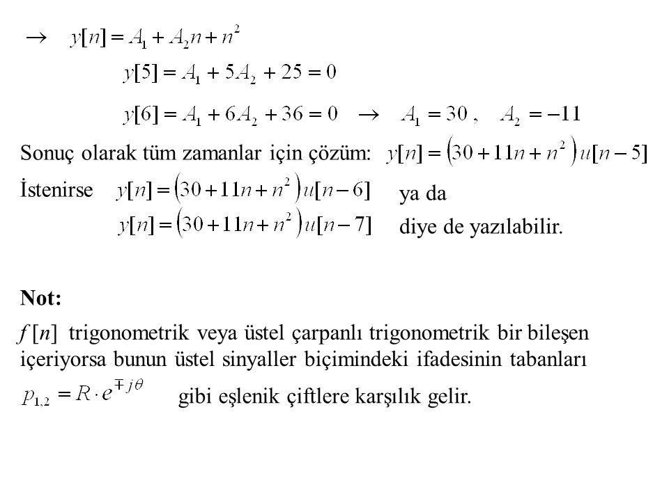Sonuç olarak tüm zamanlar için çözüm: İstenirse ya da diye de yazılabilir. f [n] trigonometrik veya üstel çarpanlı trigonometrik bir bileşen içeriyors