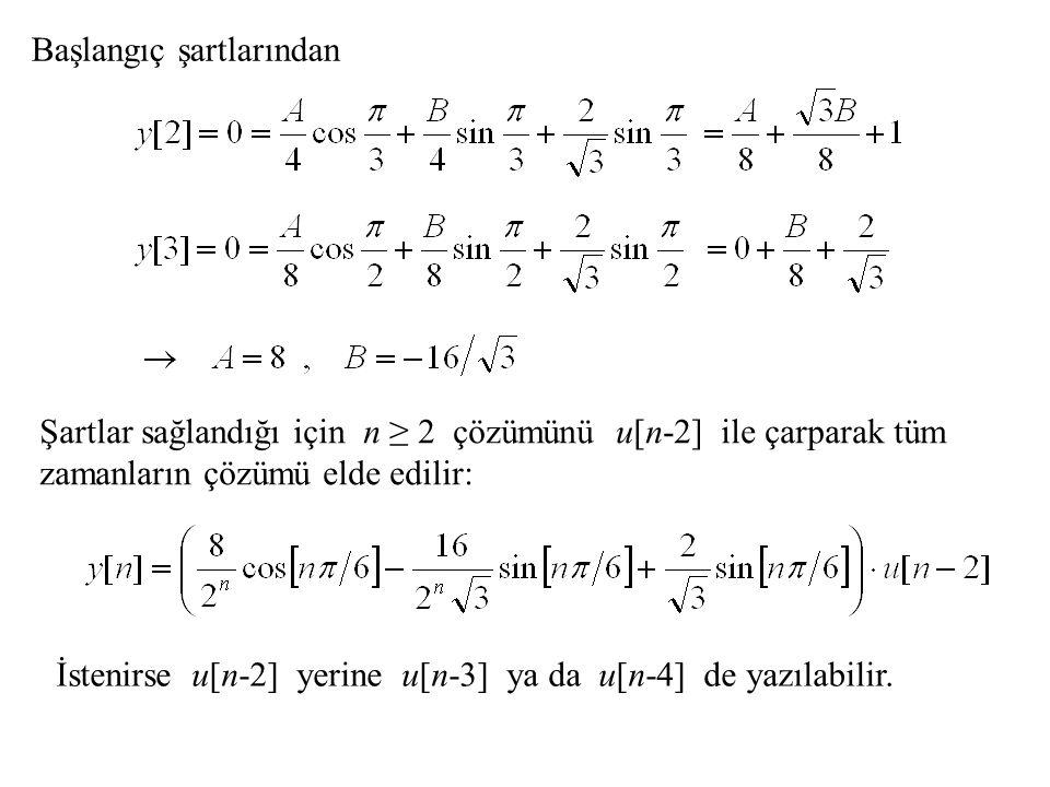 Başlangıç şartlarından Şartlar sağlandığı için n ≥ 2 çözümünü u[n-2] ile çarparak tüm zamanların çözümü elde edilir: İstenirse u[n-2] yerine u[n-3] ya