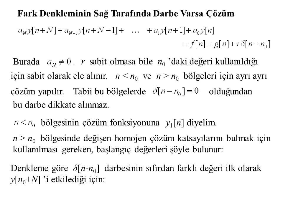 Fark Denkleminin Sağ Tarafında Darbe Varsa Çözüm Burada r sabit olmasa bile n 0 'daki değeri kullanıldığı için sabit olarak ele alınır.n n 0 bölgeleri