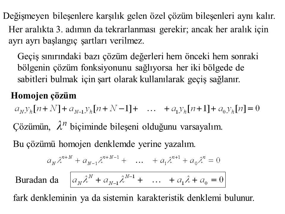 Geçiş sınırındaki bazı çözüm değerleri hem önceki hem sonraki bölgenin çözüm fonksiyonunu sağlıyorsa her iki bölgede de sabitleri bulmak için şart ola