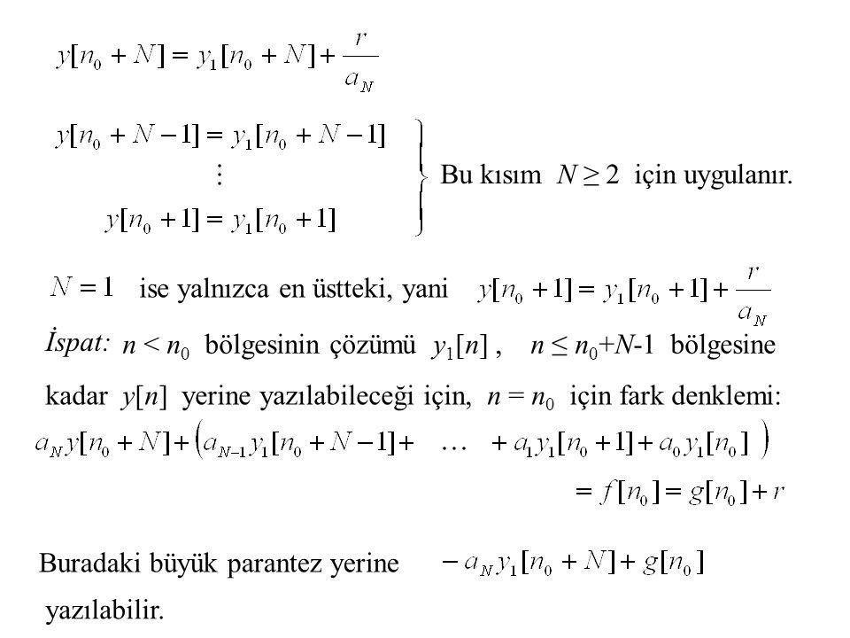 Bu kısım N ≥ 2 için uygulanır. ise yalnızca en üstteki, yani İspat: n < n 0 bölgesinin çözümü y 1 [n], n ≤ n 0 +N-1 bölgesine kadar y[n] yerine yazıla