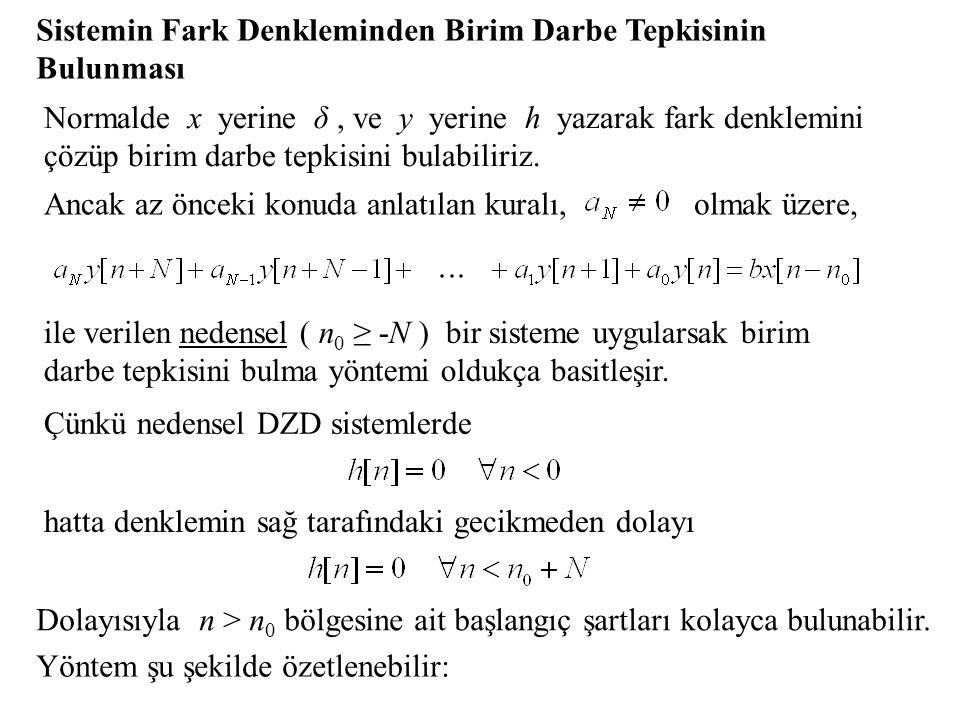 Sistemin Fark Denkleminden Birim Darbe Tepkisinin Bulunması Normalde x yerine δ, ve y yerine h yazarak fark denklemini çözüp birim darbe tepkisini bulabiliriz.