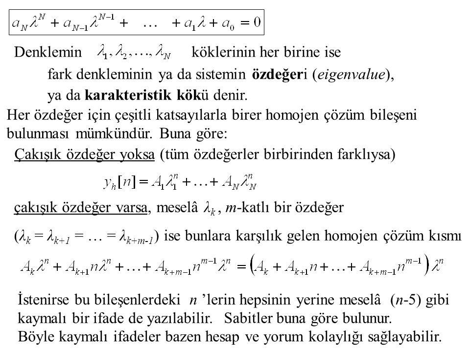 Denklemin fark denkleminin ya da sistemin özdeğeri (eigenvalue), köklerinin her birine ise ya da karakteristik kökü denir. Her özdeğer için çeşitli ka
