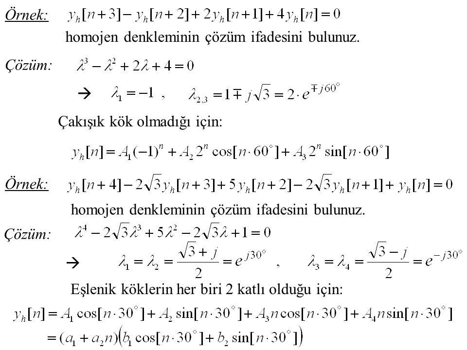 Örnek: homojen denkleminin çözüm ifadesini bulunuz. Çözüm:  Çakışık kök olmadığı için: Örnek: homojen denkleminin çözüm ifadesini bulunuz. Çözüm:  E