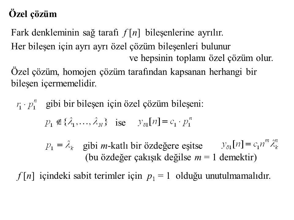 Özel çözüm Fark denkleminin sağ tarafı f [n] bileşenlerine ayrılır. Her bileşen için ayrı ayrı özel çözüm bileşenleri bulunur ve hepsinin toplamı özel