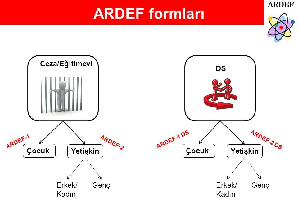 ARDEF formları Ceza/Eğitimevi DS Çocuk Yetişkin Erkek/ Kadın Genç Çocuk Yetişkin Erkek/ Kadın Genç ARDEF-1 ARDEF-1 DS ARDEF-2 DS ARDEF-2