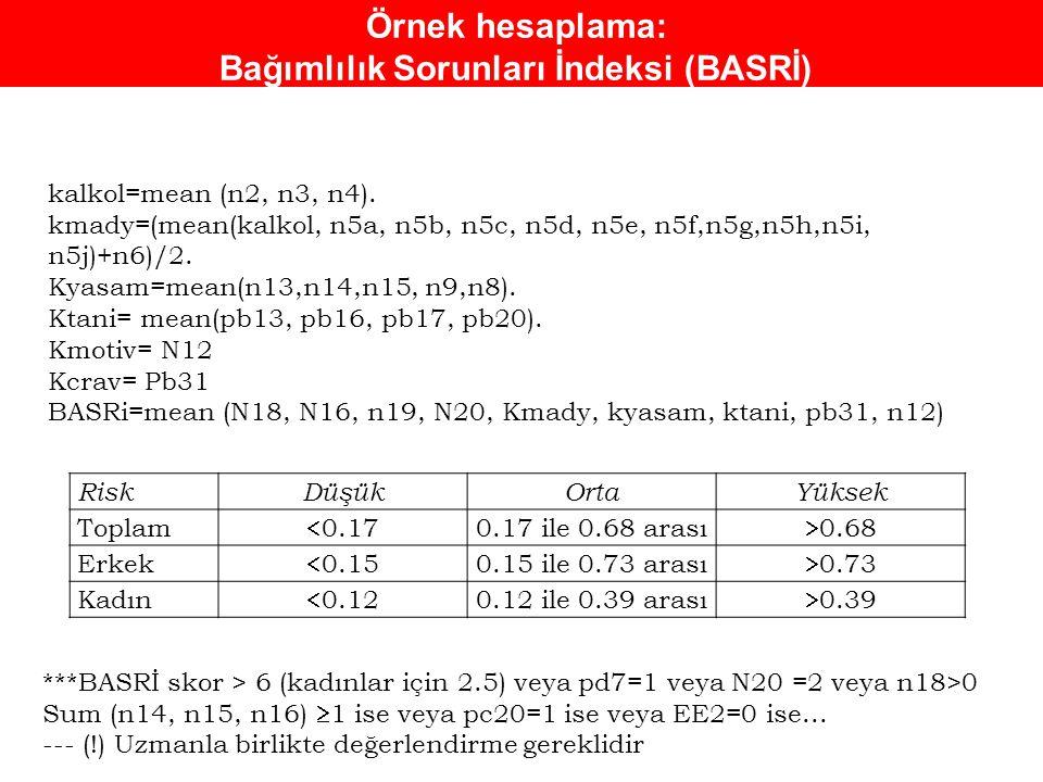 Örnek hesaplama: Bağımlılık Sorunları İndeksi (BASRİ) RiskDüşükOrtaYüksek Toplam  0.17 0.17 ile 0.68 arası  0.68 Erkek  0.15 0.15 ile 0.73 arası 