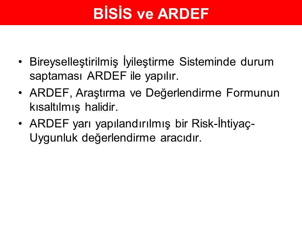 BİSİS ve ARDEF Bireyselleştirilmiş İyileştirme Sisteminde durum saptaması ARDEF ile yapılır. ARDEF, Araştırma ve Değerlendirme Formunun kısaltılmış ha