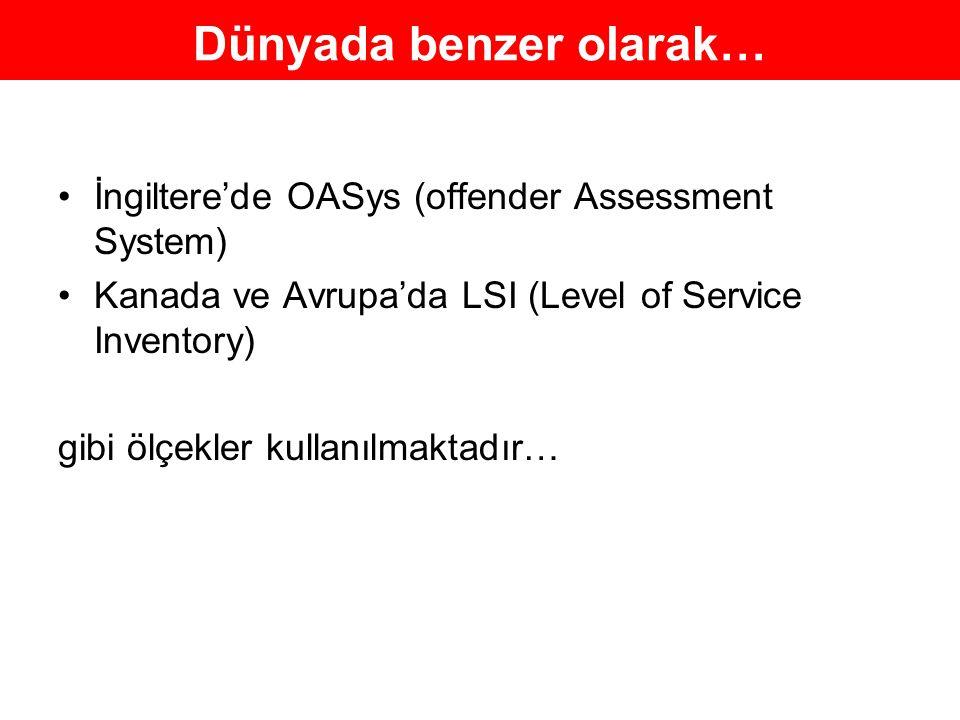 Dünyada benzer olarak… İngiltere'de OASys (offender Assessment System) Kanada ve Avrupa'da LSI (Level of Service Inventory) gibi ölçekler kullanılmakt