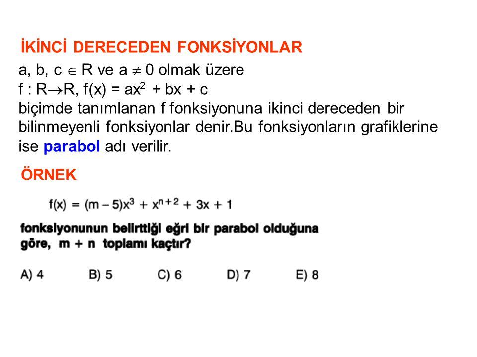 İKİNCİ DERECEDEN FONKSİYONLAR a, b, c  R ve a  0 olmak üzere f : R  R, f(x) = ax 2 + bx + c biçimde tanımlanan f fonksiyonuna ikinci dereceden bir