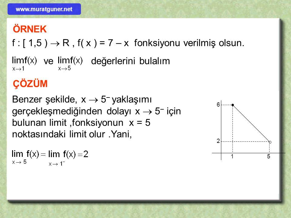 ÖRNEK f : [ 1,5 )  R, f( x ) = 7 – x fonksiyonu verilmiş olsun. vedeğerlerini bulalım ÇÖZÜM 15 6 2 f fonksiyonunun grafiği yandaki gibidir.Bu şekilde