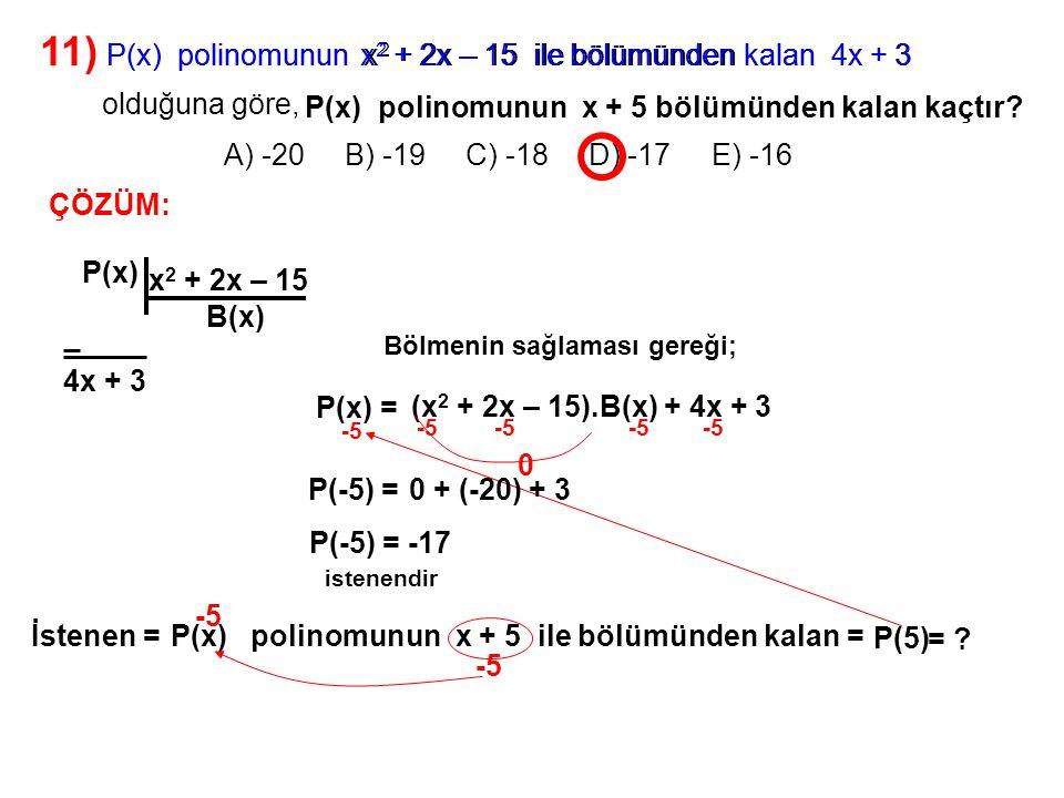 12) A) -2 B) -1 C) 1 D) 2 E) 4 P(x + 3) = x 3 + 2x 2 + x + m P(3 – x) polinomunun bir çarpanı 2 – x olduğuna göre, m kaçtır.