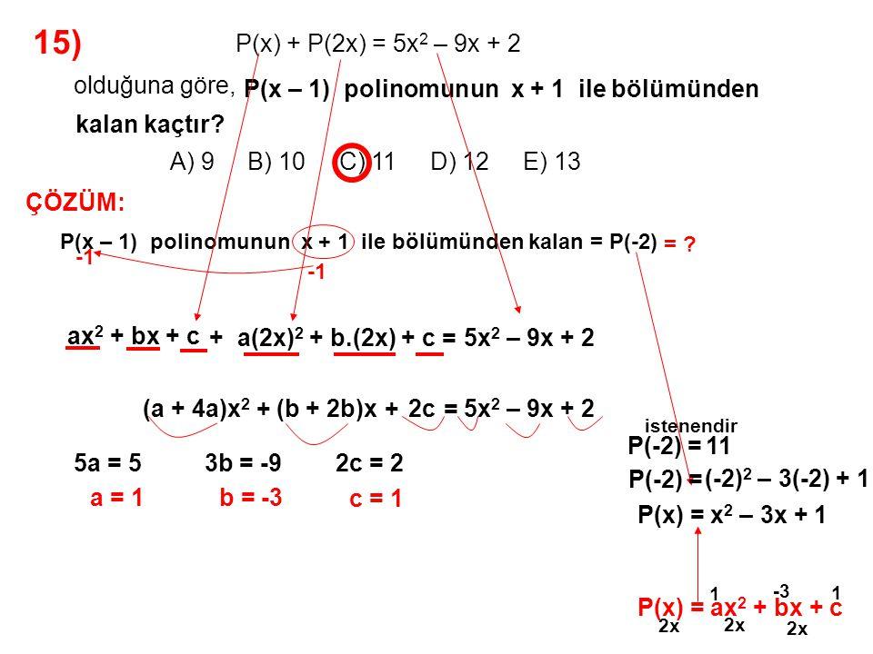 16) A) 7 B) 6 C) 5 D) 4 E) 3 olduğuna göre, P(x) polinomunun (x + 2) 2 ile bölümünden kalan -2x + 3 P(x) polinomunun 2x + 4 bölümünden kalan kaçtır.