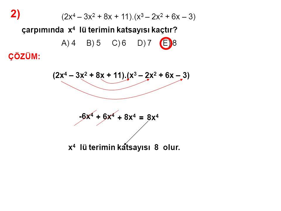 3) A) 1 B) 2 C) 3 D) 4 E) 5 P(x) = 2x 3 – x + a x + 1 P(x) bir polinom olduğuna göre, P(-1) kaçtır.