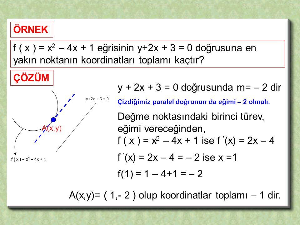 f ( x ) = x 2 – 4x + 1 eğrisinin y+2x + 3 = 0 doğrusuna en yakın noktanın koordinatları toplamı kaçtır.