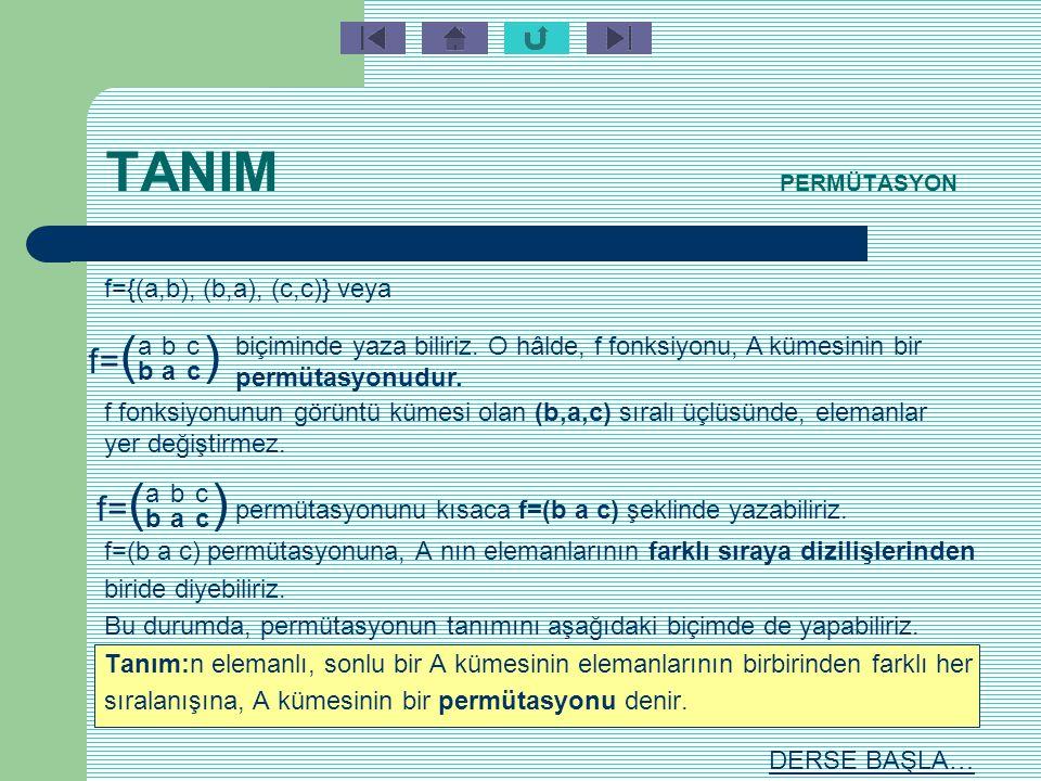 TANIM PERMÜTASYON Tanım: n elemanlı sonlu bir küme A olmak üzere, A dan A ya tanımlanan birebir ve örten her fonsiyona, A nın bir permütasyonu denir.