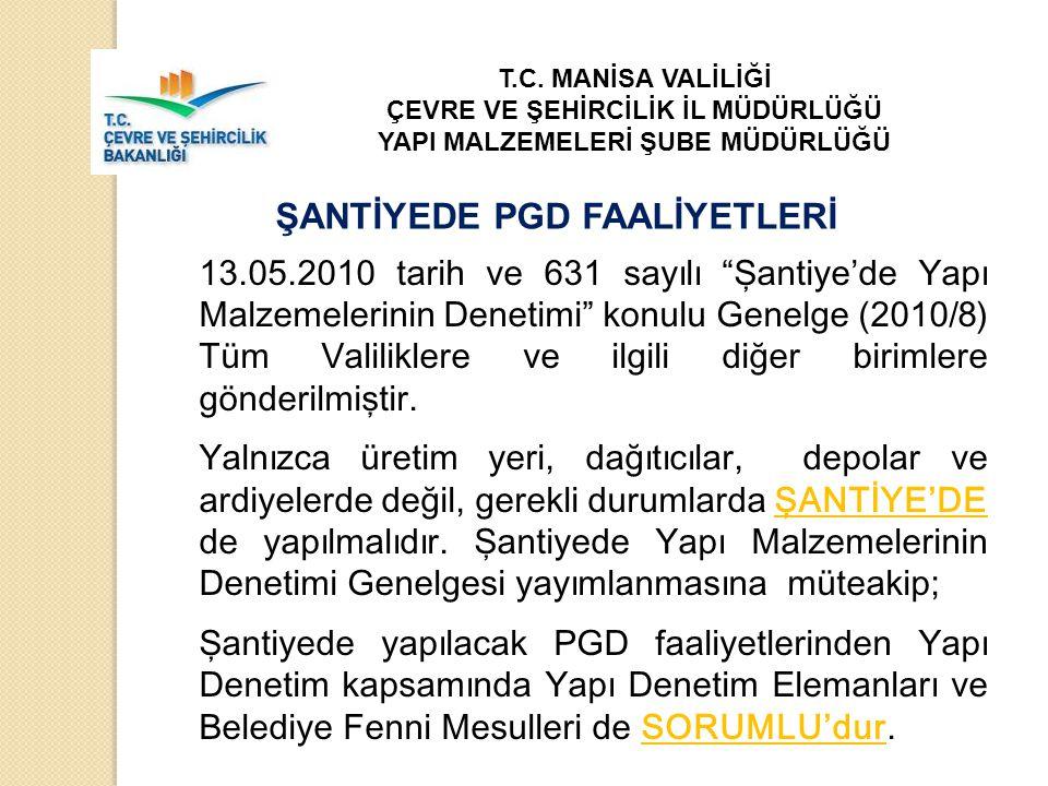 """13.05.2010 tarih ve 631 sayılı """"Şantiye'de Yapı Malzemelerinin Denetimi"""" konulu Genelge (2010/8) Tüm Valiliklere ve ilgili diğer birimlere gönderilmiş"""