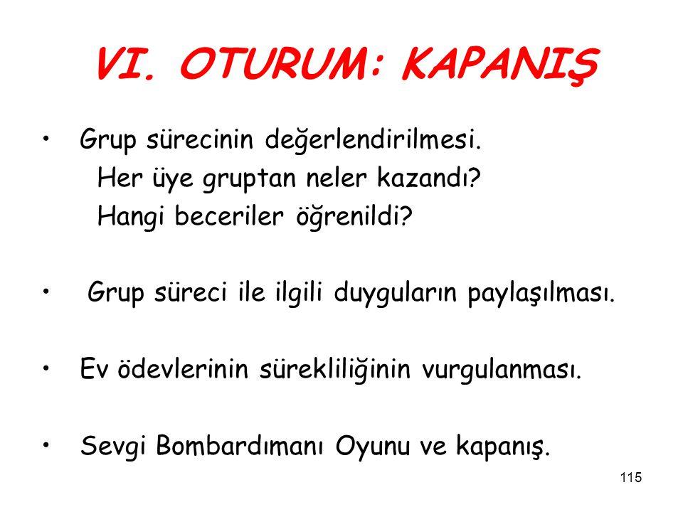 ÖZETLEME VE KAPANIŞ 114