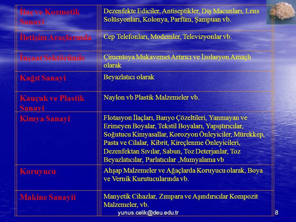 yunus.celik@deu.edu.tr19 TÜRKİYE'DE BOR MİNERALLERİNİN COĞRAFİ GÖRÜNÜMÜ Türkiye'deki bor mineralleri yatakları coğrafi olarak genellikle Anadolu nun batısında yer almaktadır.