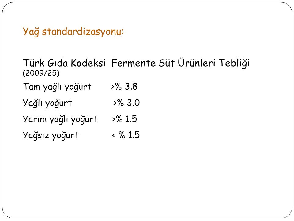 Yağ standardizasyonu: Türk Gıda Kodeksi Fermente Süt Ürünleri Tebliği (2009/25) Tam yağlı yoğurt >% 3.8 Yağlı yoğurt >% 3.0 Yarım yağlı yoğurt >% 1.5 Yağsız yoğurt < % 1.5
