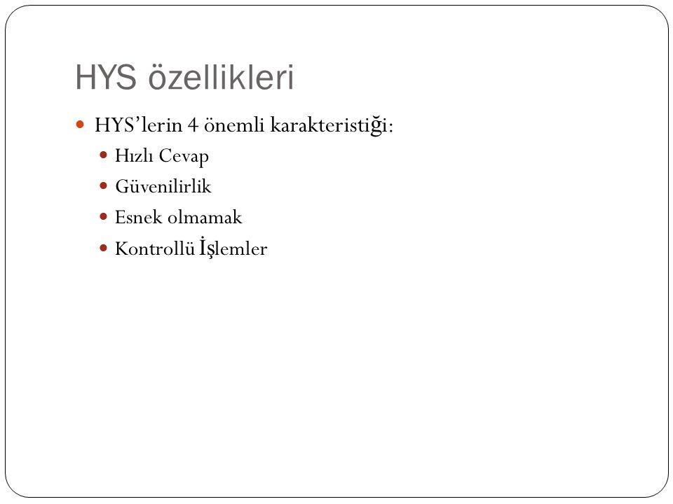 HYS özellikleri HYS'lerin 4 önemli karakteristi ğ i: Hızlı Cevap Güvenilirlik Esnek olmamak Kontrollü İş lemler