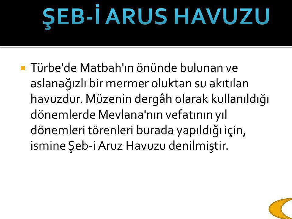  Türbe'de Matbah'ın önünde bulunan ve aslanağızlı bir mermer oluktan su akıtılan havuzdur. Müzenin dergâh olarak kullanıldığı dönemlerde Mevlana'nın