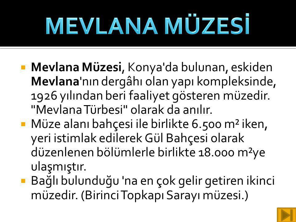  Mevlana Müzesi, Konya'da bulunan, eskiden Mevlana'nın dergâhı olan yapı kompleksinde, 1926 yılından beri faaliyet gösteren müzedir.